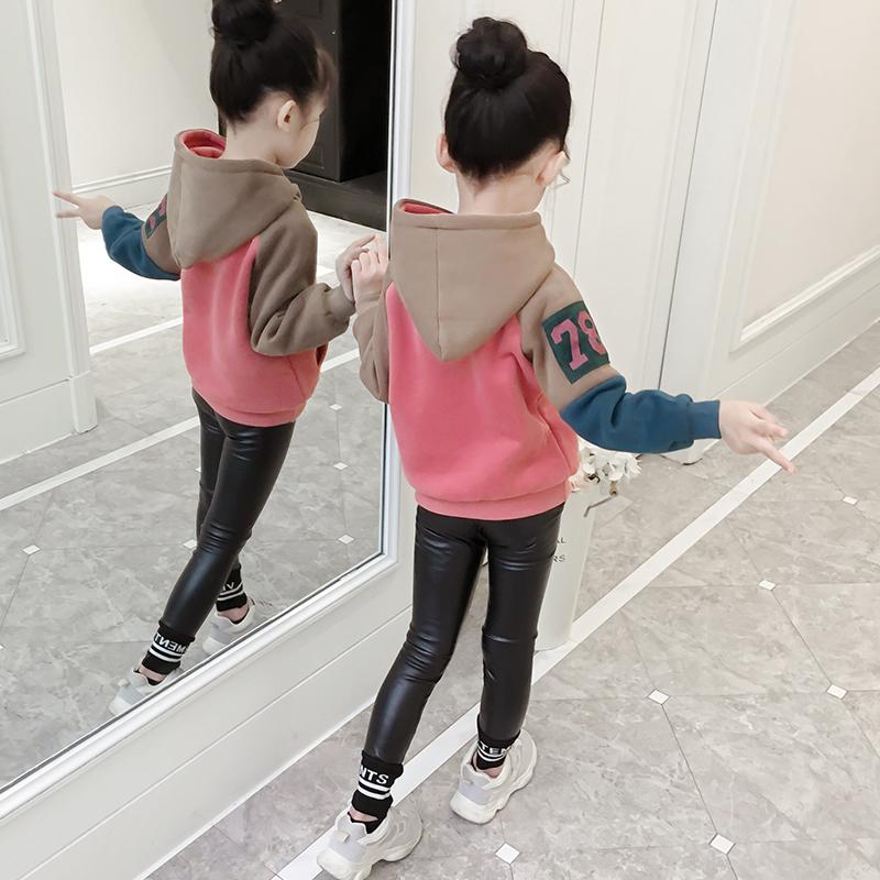 Девичий свитер 2019 новая весна и осень тонкая корейская версия рубашки толстовки детские с капюшоном большая детская мода