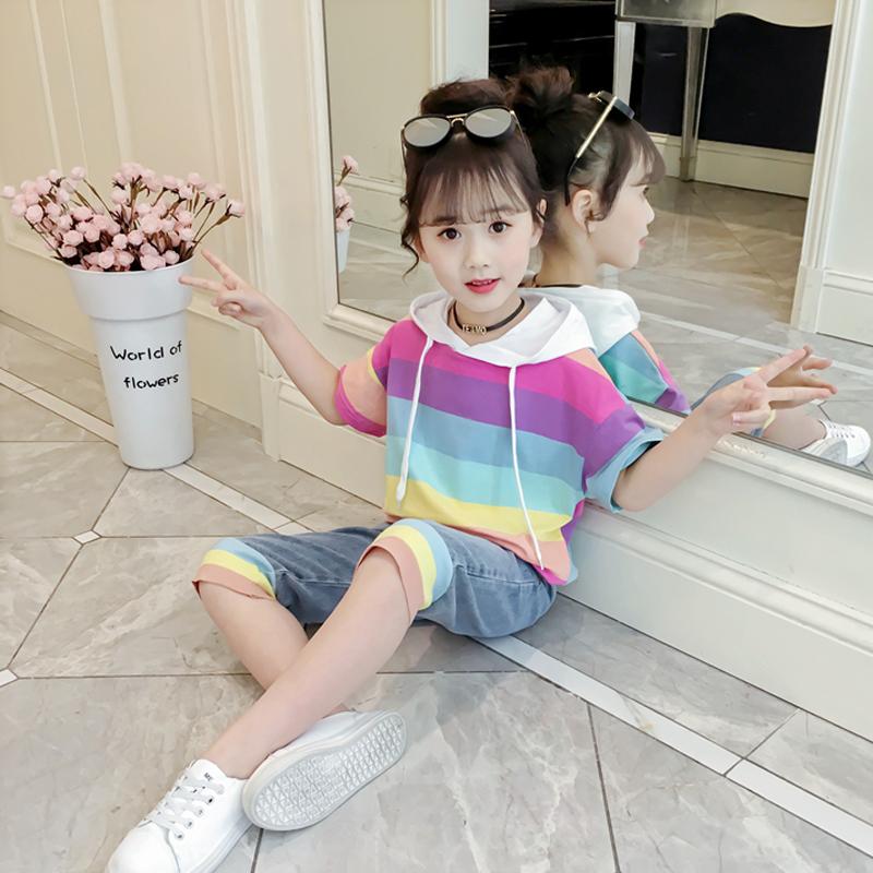 女童套装夏装2019新款儿童洋气两件套小女孩时髦网红潮童装中大童- комплект шорты и толстовка