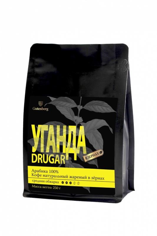 1277-250 Кофе в зёрнах Уганда Drugar, уп. 250 г