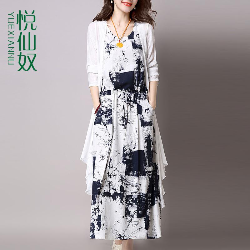 Хлопок и лен платье 2019 весной и осенью новая женская корейская версия летней костюм юбка ранней весной популярной юбки