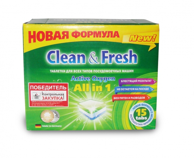 "Таблетки для ПММ \""Clean&Fresh\"" Allin1 (mini) 15 штук"