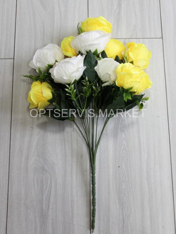 """Букет розы двухцветных \""""Сальта\"""", арт.С190,h 53см, 12 голов d 8см"""