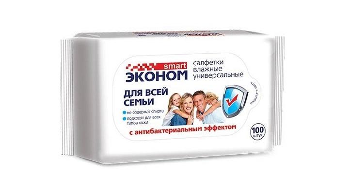 Эконом smart 100шт Влажные салфетки для всей семьи с антибактериальным эффектом