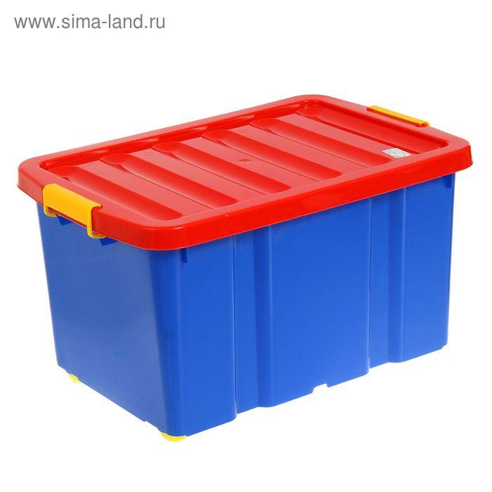 Ящик для игрушек 60 л Jumbo на роликах с крышкой Plast team