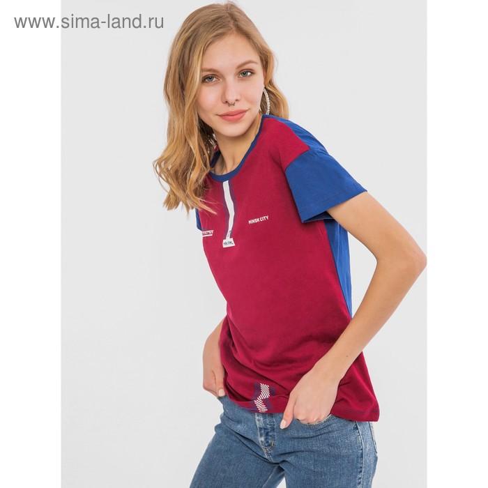 Футболка женская, цвет бордовый/синий, размер 52 (XXL)