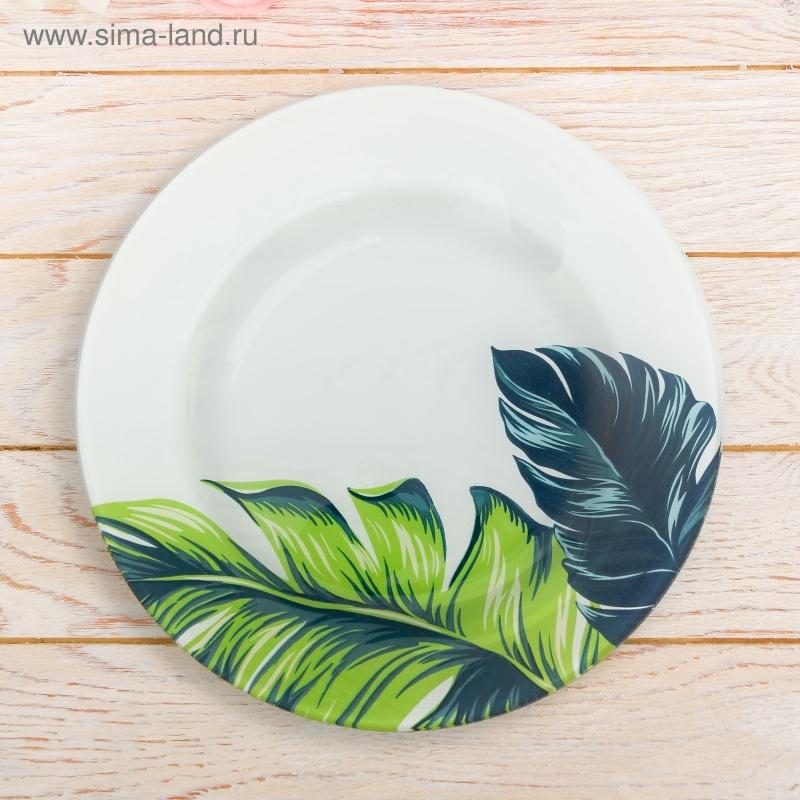 """Стеклянная тарелка \""""Листья\"""", 22, 5 см"""