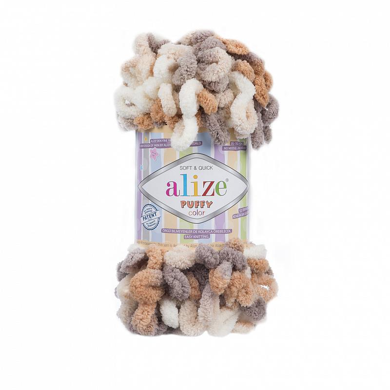 Пряжа для вязания Ализе Puffy color (100% микрополиэстер) 5х100г/9м цв.5926