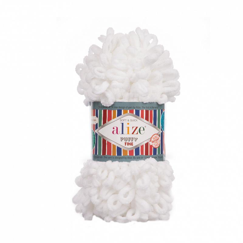 Пряжа для вязания Ализе Puffy Fine (100% микрополиэстер) 5х100г/14м цв.055 белый