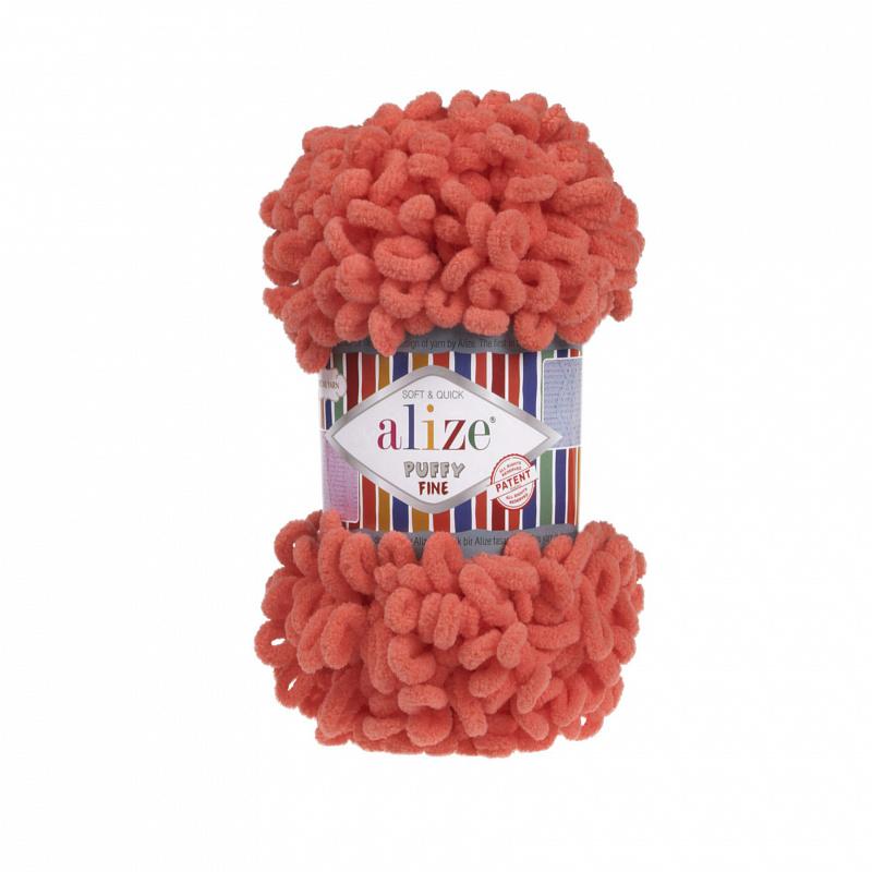 Пряжа для вязания Ализе Puffy Fine (100% микрополиэстер) 5х100г/14м цв.526 гранатовый
