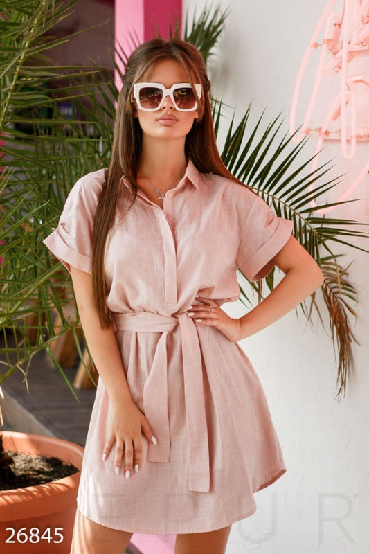 Льняное платье-рубашка