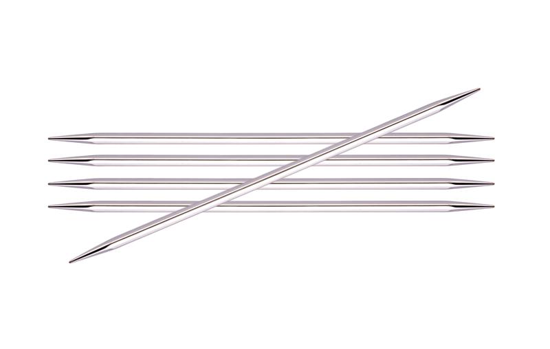 12105 Knit Pro Спицы чулочные Nova cubics 3мм/15см, никелированная латунь, серебристый, 5шт