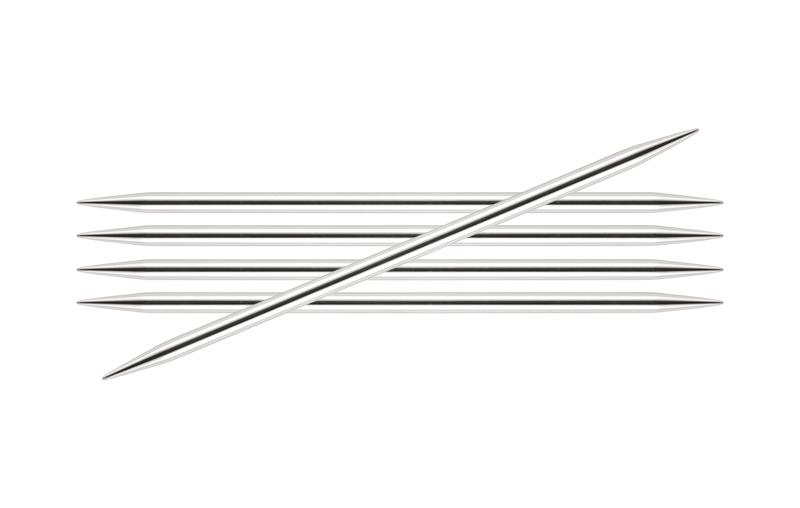 10109 Knit Pro Спицы чулочные Nova Metal 4мм/20см, никелированная латунь, серебристый, 5шт