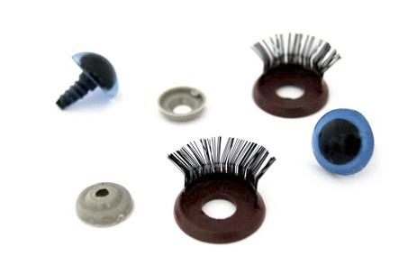 Глазки с фиксатором, веко с ресничками №10 арт.КЛ.23448 цв.голубой 16х19 мм уп.2шт