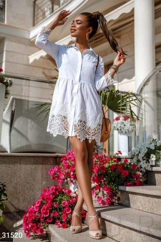 Кружевное платье-рубашка