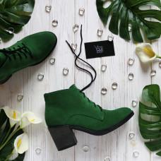 Ботильоны из ярко-зеленой замши на устойчивом каблуке