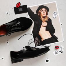Туфли на низком ходу из черного наплака с замшевым носком Арт. 05-6(Mar4)
