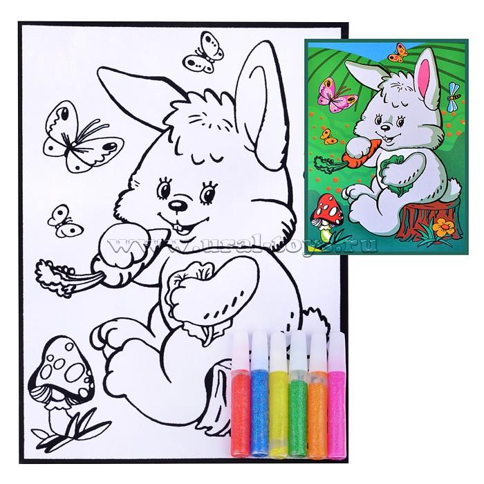 Бархатные раскраски. Зайчик с морковкой (гелевые краски)