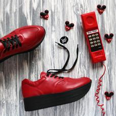 Кроссовки из красной кожи на высокой подошве Арт. 15-2/21873