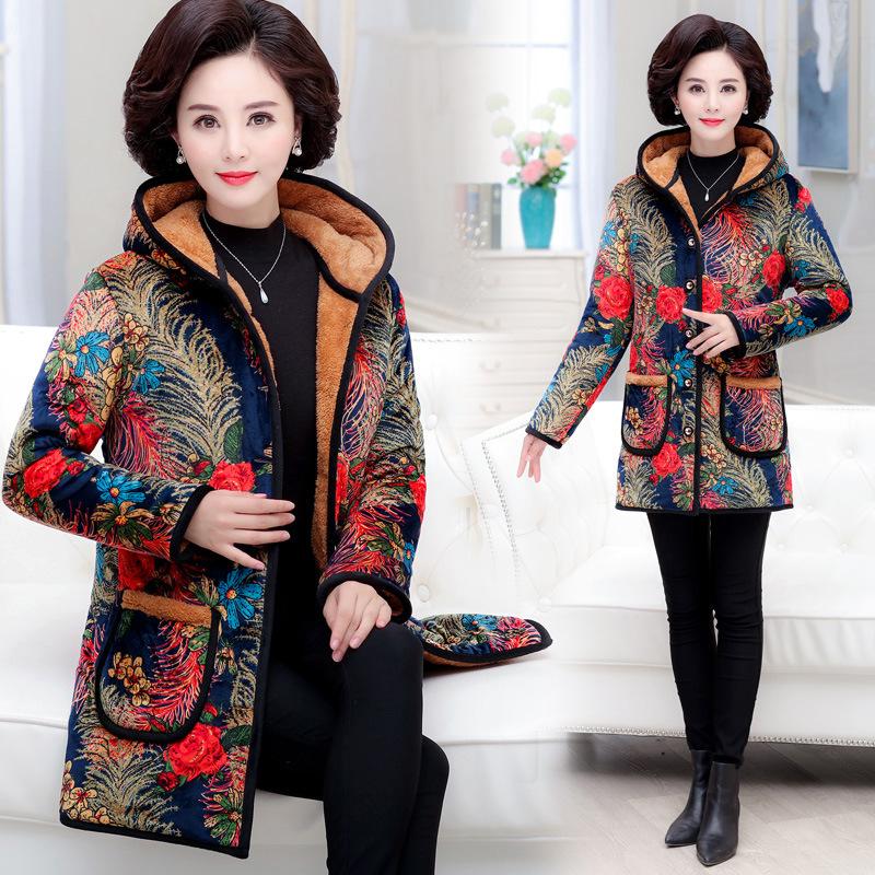 Женщин среднего возраста зимы мягкий бархат плюс толстый бархат длинные пальто пожилая мать