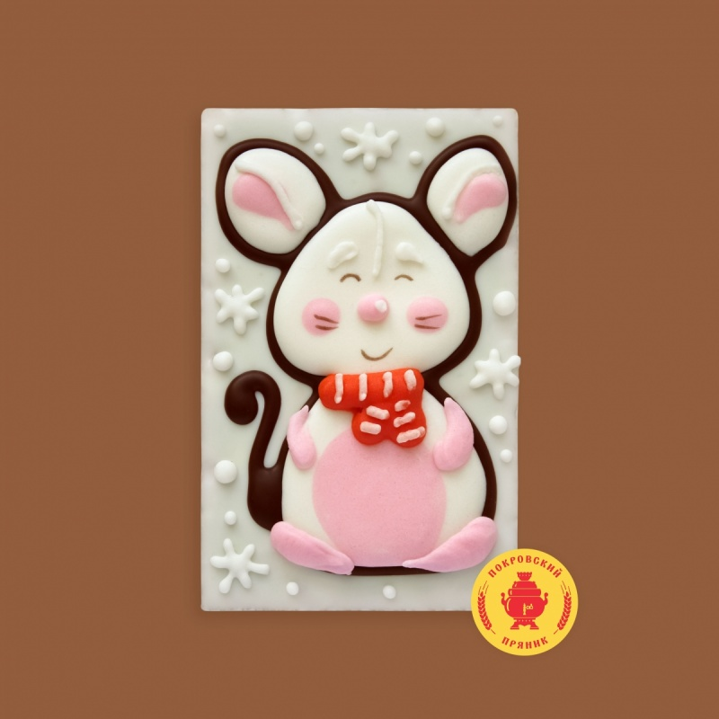 Белая мышка с красным шарфом (130 грамм)