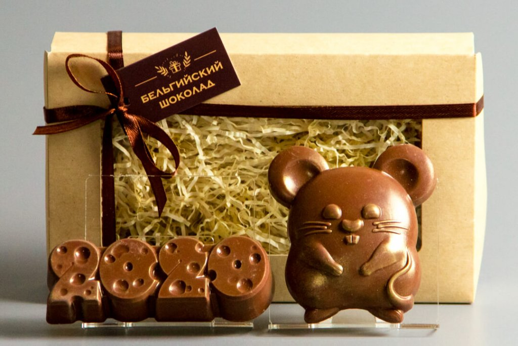 Шоколадные фигурки 2в1 «2020 сыр + Мышка 3