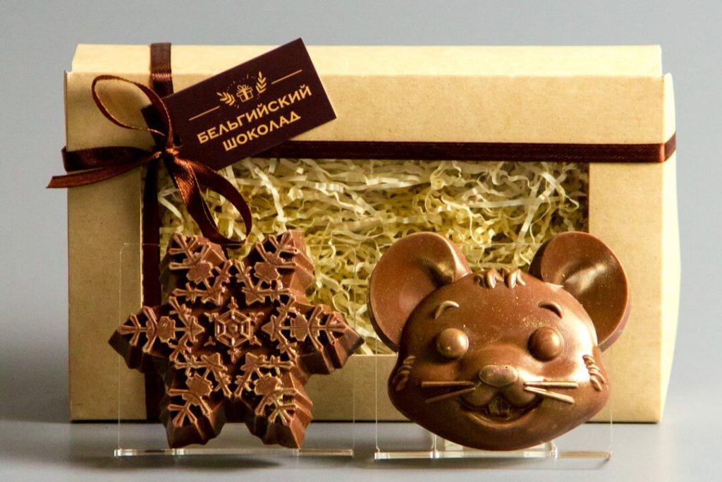 Шоколадные фигурки 2в1 «Снежинка 2 + Мышка 1»