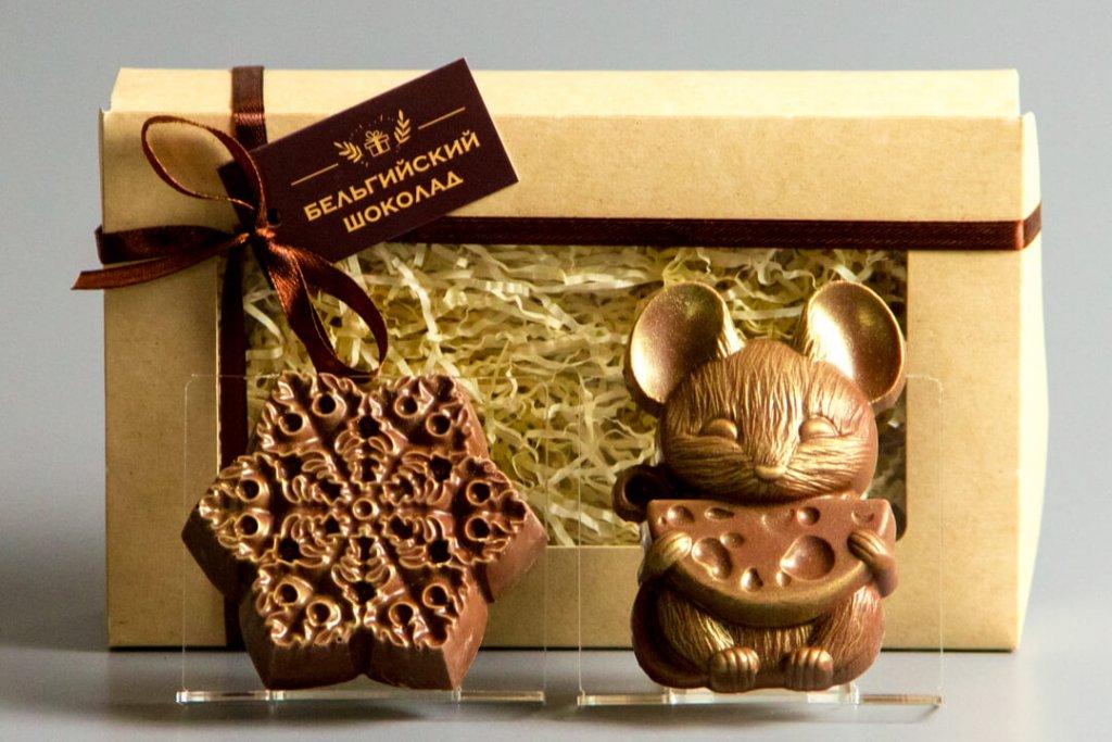 Шоколадные фигурки 2в1 «Снежинка 3 + Мышка 2»