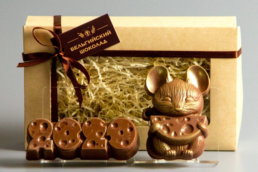 Шоколадные фигурки 2в1 «2020 сыр + Мышка 2»
