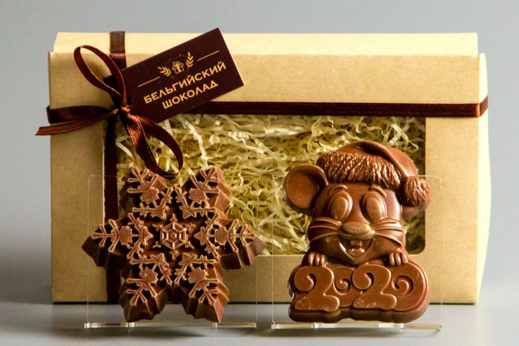 Шоколадные фигурки 2в1 «Снежинка 2 + Мышка 2020»