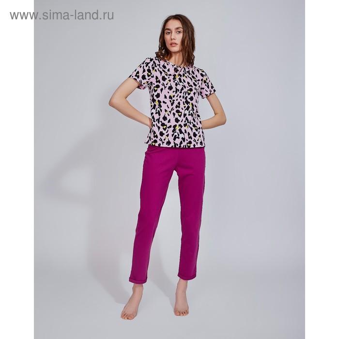 "Брюки женские MINAKU ""Леопард"", размер 54, цвет фуксия"