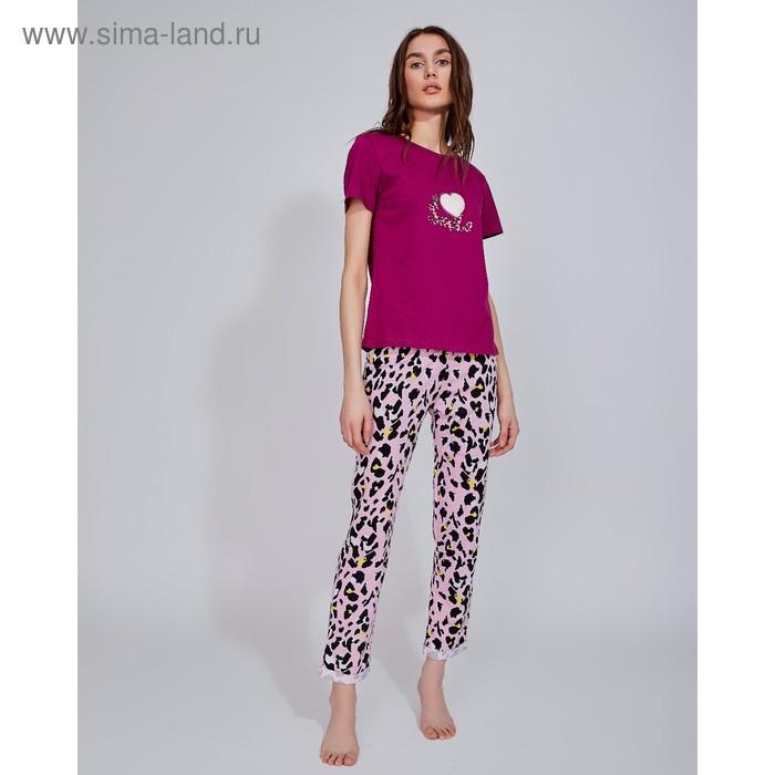 "Брюки женские MINAKU \""Леопард\"", размер 54, цвет розовый леопард"