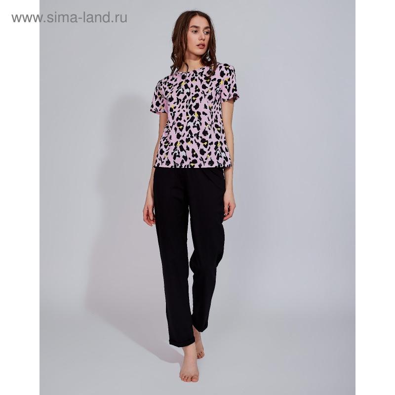 """Футболка женская MINAKU \""""Леопард\"""", размер 54, цвет розовый леопард"""