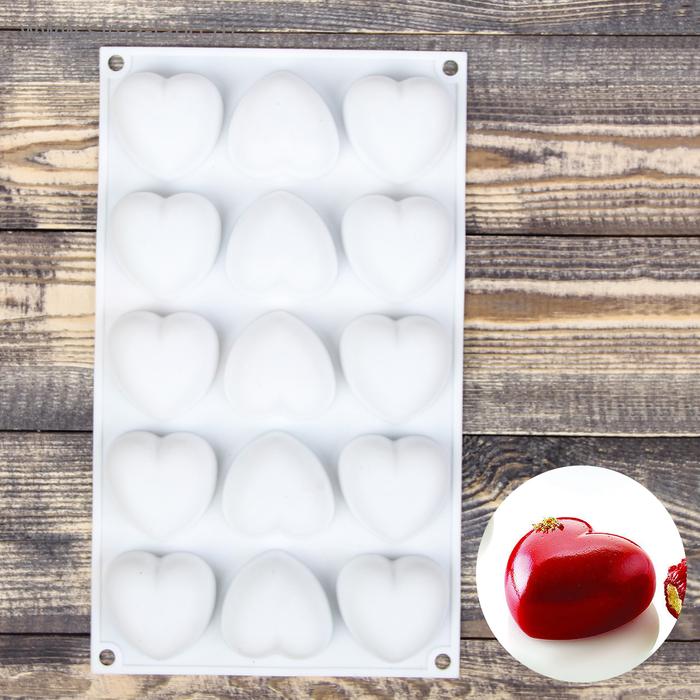 Форма для муссовых десертов и выпечки 29,8×17,3 см «Сердца»