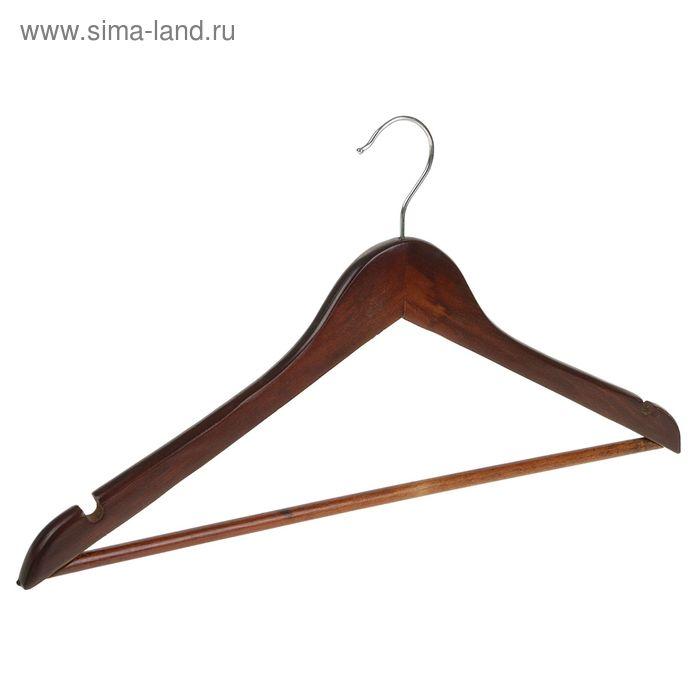 Вешалка-плечики с перекладиной, размер 46-48, цвет орех