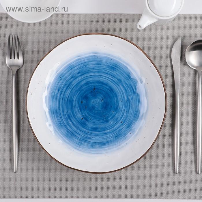 Тарелка глубокая «Нептун», 750 мл, 21,6×4 см, цвет белый/синий