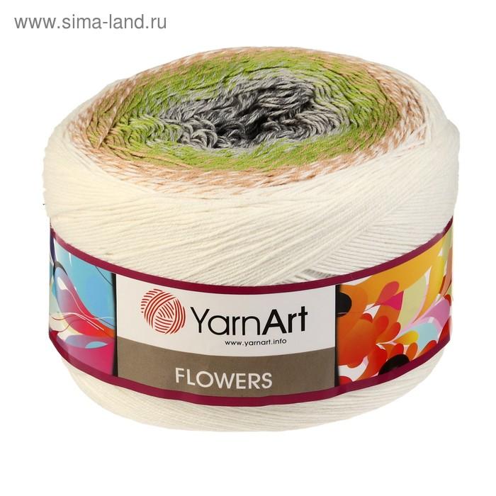 """Пряжа \""""Flowers\"""" 55% хлопок, 45% полиакрил 1000м/250гр (274 разноцветный)"""