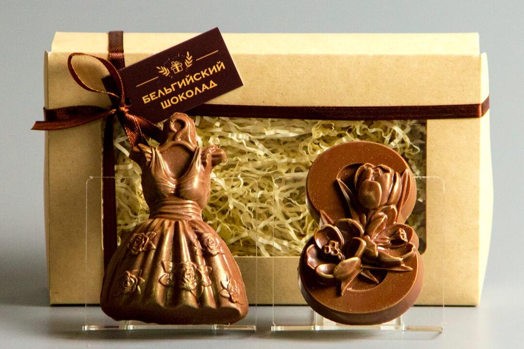 Шоколадные фигурки 2в1 «Платье + 8 марта 3»