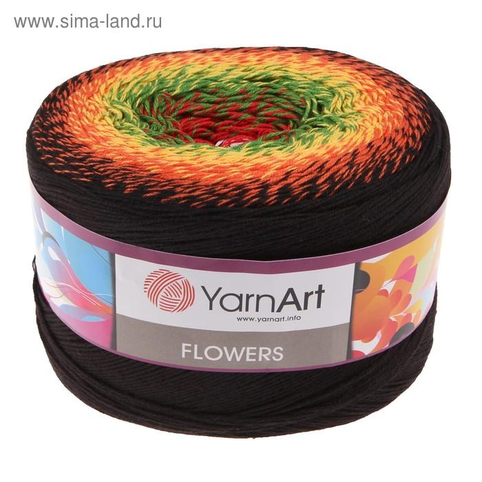 """Пряжа """"Flowers"""" 55% хлопок, 45% полиакрил 1000м/250гр (267 разноцветный)"""