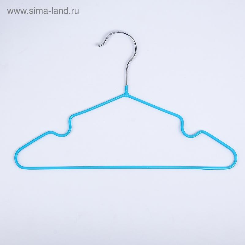 Вешалка-плечики детская, размер 30-34, антискользящая, цвет голубой
