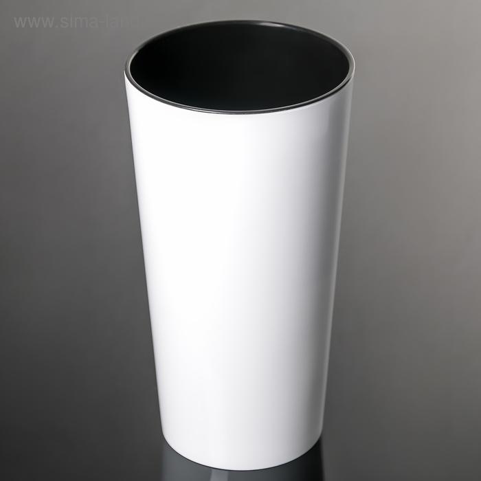 Кашпо со вставкой «Камелия», вставка 1,5 л, цвет белый