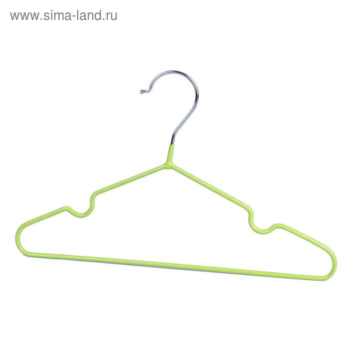 Вешалка-плечики детская, размер 30-34, антискользящее покрытие, цвет зелёный