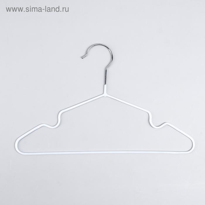 Вешалка-плечики для одежды детская с антискользящим покрытием, размер 30-34, цвет белый