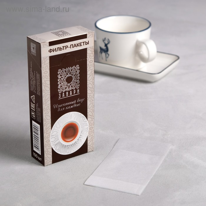 Набор фильтр-пакетов для заваривания чая, размер 8,5 х 6,5 х 4,5 см, 100 шт