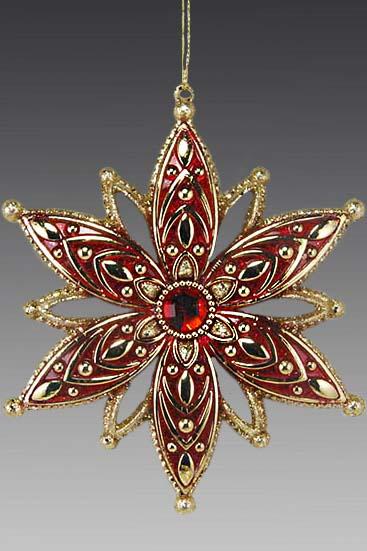 Снежинка красно-золотая 190572   Снежинка красно-золотая 190572