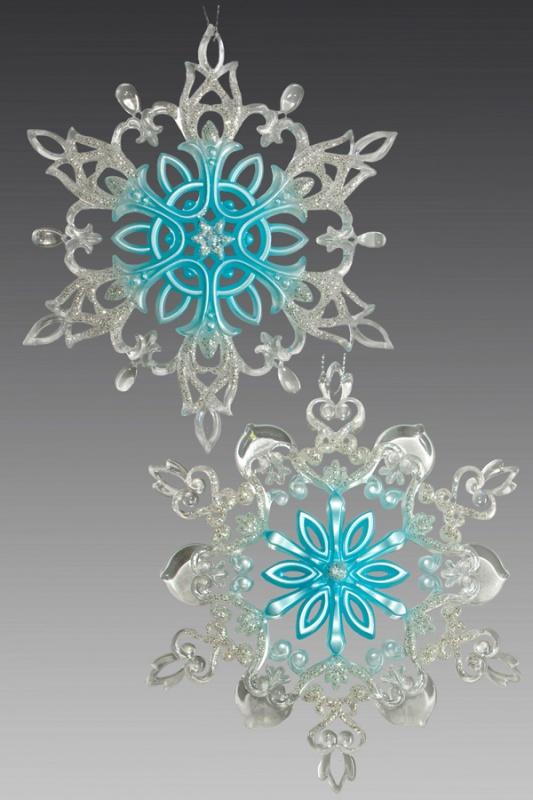 Снежинка серебряно-голубая 161154