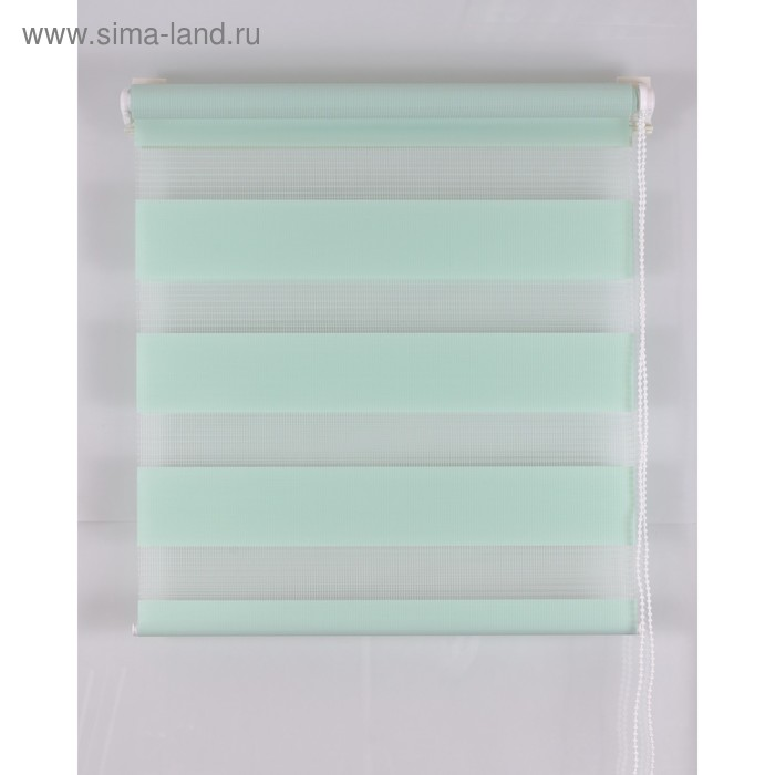 Рулонная штора «День и Ночь», размер 60х160 см, цвет светло-зелёный