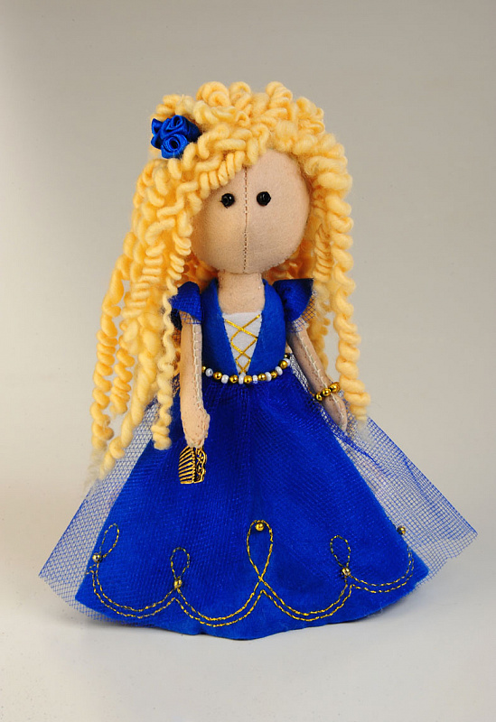 """Набор для изготовления куклы из фетра с волосами из шерсти арт.ПФ-1208 \""""Златовласка\"""" 17 см"""