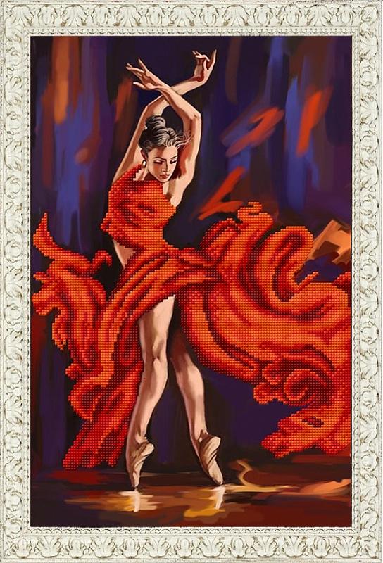 Рисунок на ткани бисером БЛАГОВЕСТ арт.К-3099 Танец страсти 25x38 см