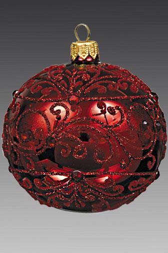 Шар Королевский красный узорный GLB17412