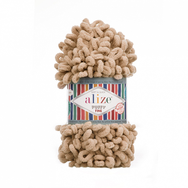 Пряжа для вязания Ализе Puffy Fine (100% микрополиэстер) 5х100г/14м цв.415 пустынный